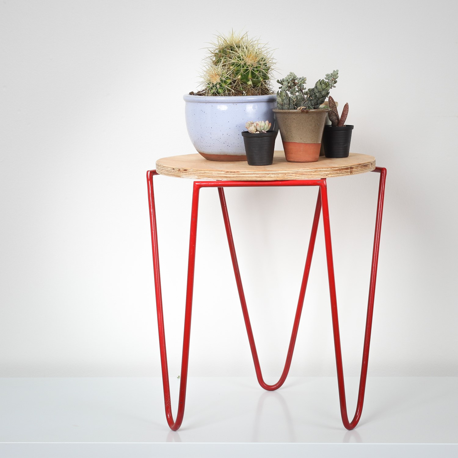 Red Metal Utility Stool